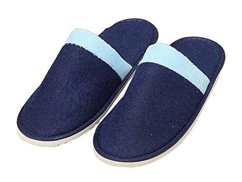 Blue Disposable Toe Closed Pairs Slippers 10 Slippers Soft Dark zwdq6z