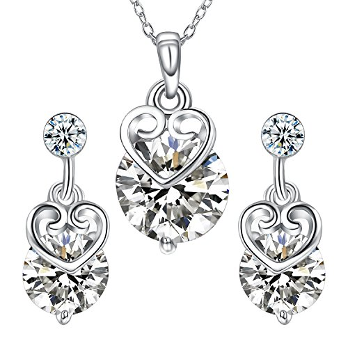 - Yoursfs Bridesmaid Jewelry Set White GP Open Love Heart Sparkle Cubic Zirconias Drop Earrings &Necklace