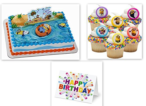 Despicable Me Minions Cake Topper PLUS 24 Matching Cupcake Rings Plus Birthday (Minions Cake Toppers)