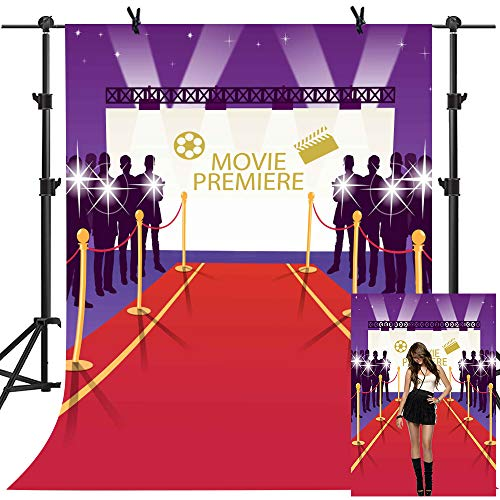 MME 5x7Ft Hollywood Movie Conference Purple Background Flash Red Carpet Photography Seamless Vinyl Video Studio Photograph Backdrop -