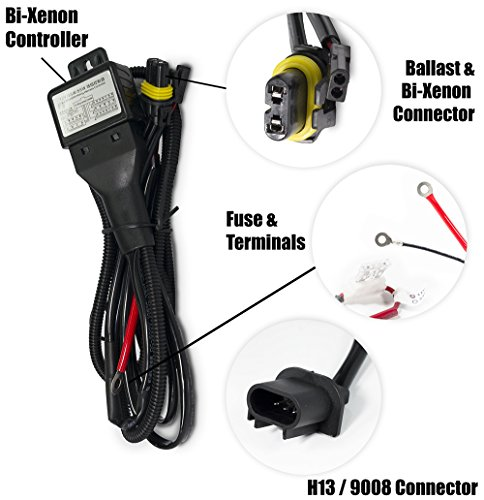 XtremeVision H13/9008 Hi/Lo Bi-Xenon Controller HID Battery Relay Wiring Harness 12V 35W/55W (Hid High Controller Power)