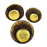 Benzara Eye Catching Metal Wall Decor, Set of Three, Gold Home Accent