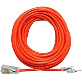 extension cord 50 ft - KMC 16AWG Power Outdoor Extension Cord with Light, Bright Orange Extension Cord - 50 Feet