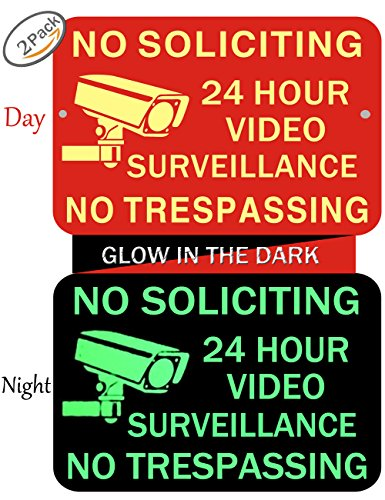 No Soliciting Sign Glow - Video Surveillance Sign - No Trespassing Signs - Home & Business Security Stickers Self-Adhesive Decal -0.40 Aluminum - 2 Pack