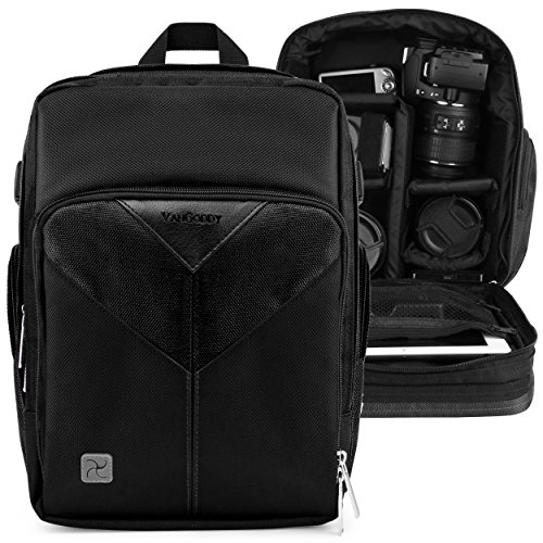 VanGoddy Sparta Onyx Black Camera Backpack Suitable for Nikon CoolPix L330, L340, B500, B700, P530, P610, L840, P900, P990, P1000, P7800