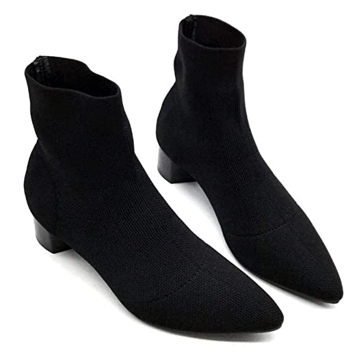 Amazon.com: COPPEN Women Boots Pointed Toe Square Heel Knitting Boots Shoes: Clothing