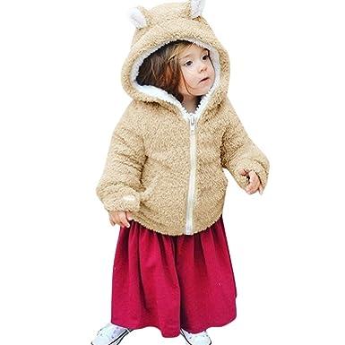 Infant Baby Girls Autumn Winter Fur Warm 3D Cartoon Rabbit Ear Hooded Coat Cloak Jacket Thick