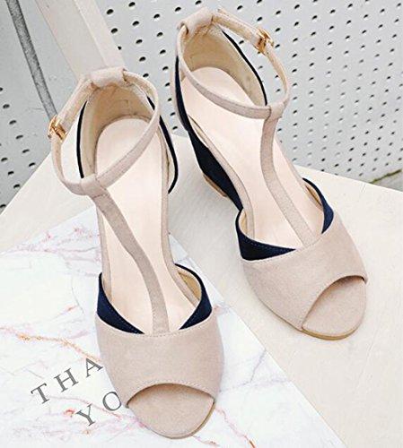 Eternee Dames Trendy Gematteerde Peep Toe Contrasterende Kleur Enkel Gesp T-strap Hoge Sleehak Sandalen Blauw