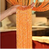 AMSS 1 Piece Sparkle Drop Hanging String Curtain Panel Room Divider Shinning Beaded 2.9m Width x 2.9m Drop (Orange)