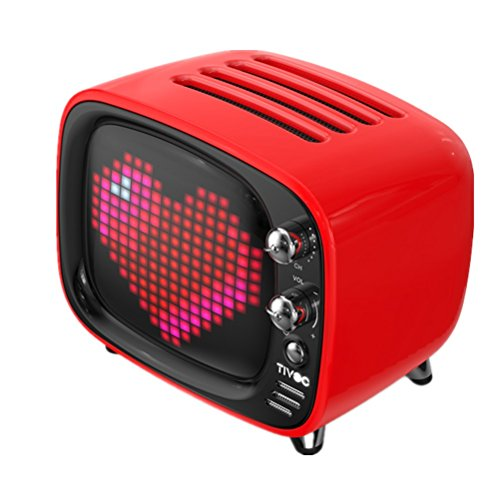 (Divoom Tivoo timebox Portable Blue-tooth Speaker LED Alarm Clock Desktop with App Compatible (Red))