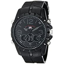 U.S. Polo Assn. Men's Analog-Digital Dial Rubber Strap Watch Black US9058