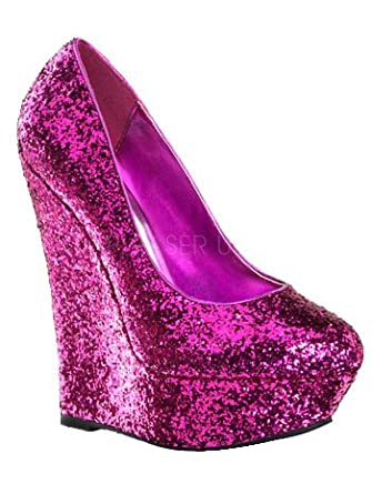 Amazon.com: Platform Hot Pink Glitter Wedge Pumps: Clothing