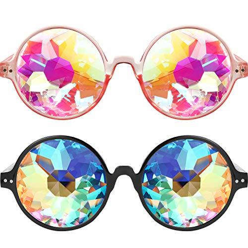 Bememo 2 Pieces Kaleidoscope Goggles Festivals Rainbow Prism Sunglasses Goggles for Music Festival -