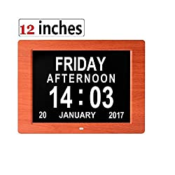 Digital Day Clock 12 Inches Calendar for Memory Loss Alzheimers Dementia Patients Elderly SeniorsVéfaîî with 6 Feet Power Cord Extra Large Non-Abbreviated Day Week Month (Red Wood)