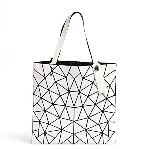 Bolso de mano femenina doblada geométrica de la tela escocesa BagCasual Tote mujeres bolso de hombro bolsas de compras ocasionales 1 5