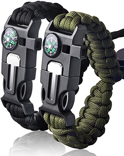 Emergency Army Green Outdoor Sports Rope Bracelet 7 Core Cords Survival Whistle