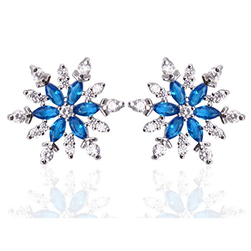 """Blue Cubic Zirconia Snowflake Stud Earrings Set 0.59""""x0.59"""", Hypoallergenic Jewelry Gift For Brides Bridesmaid"""