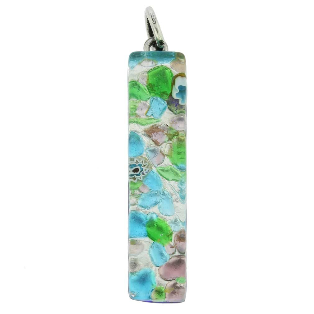 GlassOfVenice Murano Glass Venetian Reflections Stick Pendant - Silver Meadow