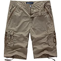 WenVen Men's 14 Inch Loose Fit Multi-Pocket Cargo Short (Khaki, 36)