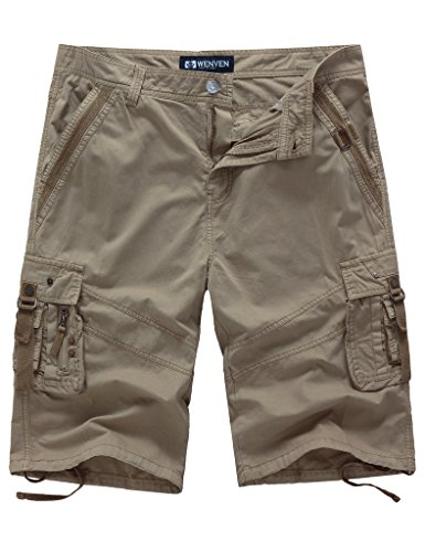 WenVen Men's 14 Inch Loose Fit Multi-Pocket Cargo Short (Khaki, 34)