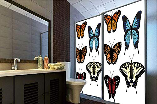 No Glue Static Cling Glass Sticker,Swallowtail Butterfly,Five Different Butterflies Colorful Monarch Lady Insect Wings Spring Decorative,Multicolor,39.37