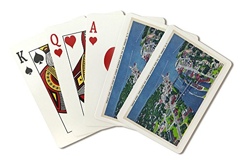 Oswego, New York - Aerial View of Oswego River, Locks, Harbor Entrance (Playing Card Deck - 52 Card Poker Size with Jokers) ()