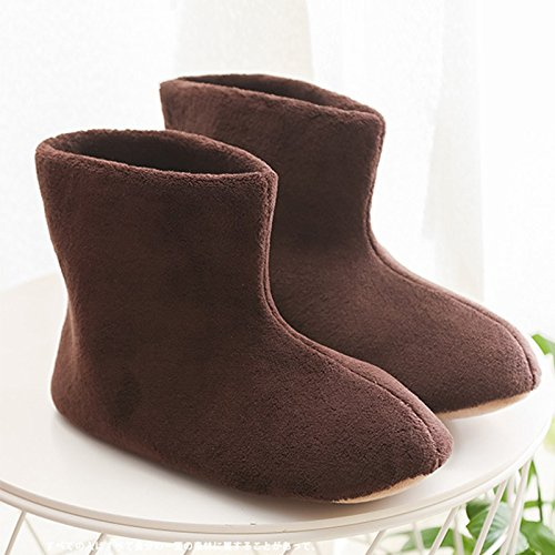 LaxBa Femmes Hommes chauds d'hiver Chaussons peluche antiglisse intérieur Cotton-Padded BrownXL Chaussures Slipper (43-45 mètres)