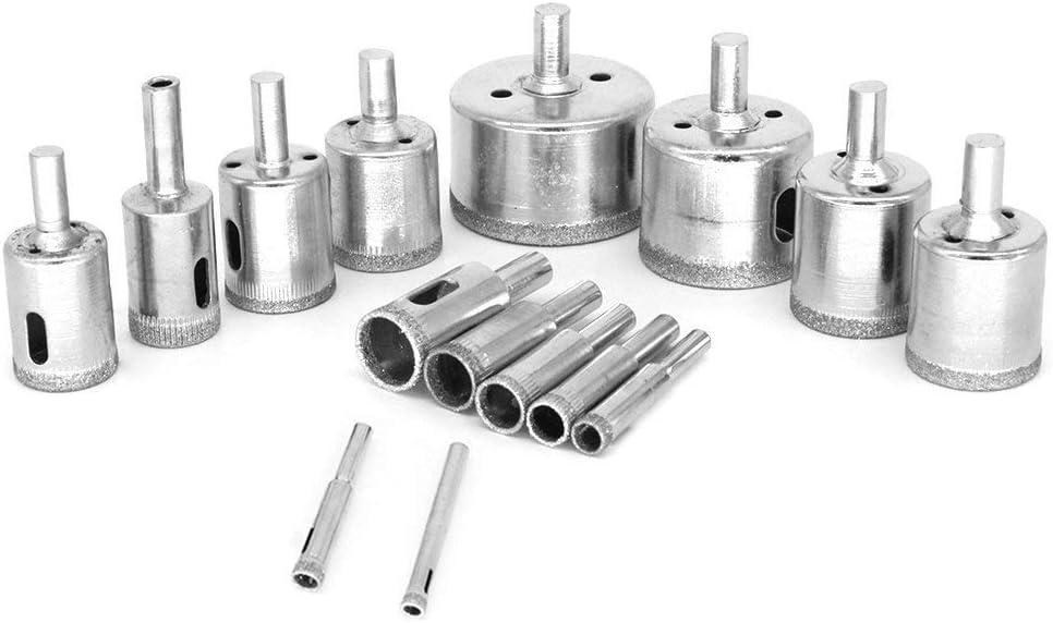 Granit ValueHall Foret Forage 15 Pi/èces Scie Tr/épan 6mm-50mm Ceramique Foret de Diamant pour Verre 0.23/'/' to 2 /'/' Marbre V7041-3 Carrelage