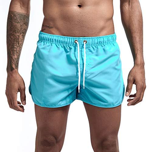 Swimwear Men Shorts - Male Spring Summer Splicing Swimming Trousers Beach Surfing Shorts Short Pants Teen Trucks (L, Light Blue)