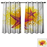 RuppertTextile Starfish Bedroom Thermal Blackout Curtains Vibrant Colored Tropic Animals and Artistic Bubbles Tranquil Scene Drapes for Living Room Fuchsia Hot Pink Yellow W72 x L84 inch Review