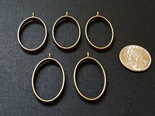 5 Bronze OVAL Open Bezels for Resin, Open Back Bezel Pendant Blanks for Jewelry Making -