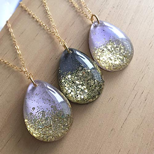 Glitter Cascade Resin Pendant Necklace on 14k gold fill Chain - Choose from Lavender or Charcoal