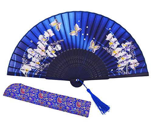 meifan Chinese/Japanese Womens Handmade Silk Folding Hand Fan (Blue)