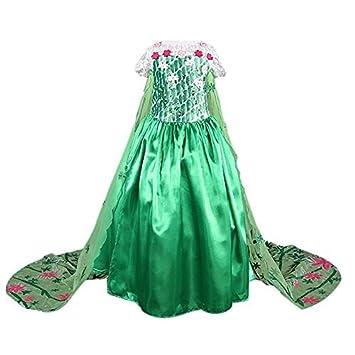 Frbelle® Disfraz de Princesa Vestido Largo Verde con Capa para Fiesta Noche Boda Ceremonia Cosplay