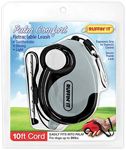 (RUFFIN' IT Comfort Grip Palm Retractable Leash, 10' Corded, Grey, Pink, Blue Assorted, for Dogsup to 25Lbs)