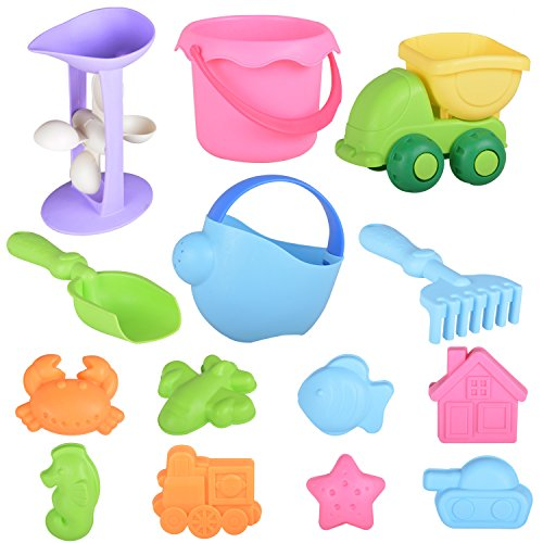 Veken Beach Sand Toys Set for Kids Toddlers, BPA Free Eco-Friendly TPE Material Soft Sandbox Toys Bucket, Trucks, Sand Wheel, Shovels, Rakes 14 Pieces Sand Molds