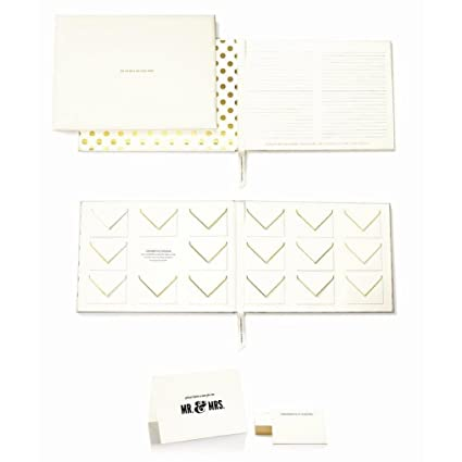 amazon com kate spade new york wedding mr and mrs guest book gold