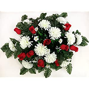 Spring Cemetery Saddle Arrangement - White Mums & Red Roses 86
