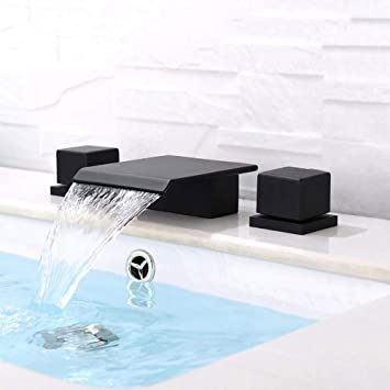 Buluxe Waterfall Bathroom Faucet In Matte Black 3 Hole Double Square Handles Widespread Black Bathroom Sink Faucet Solid Brass Amazon Com