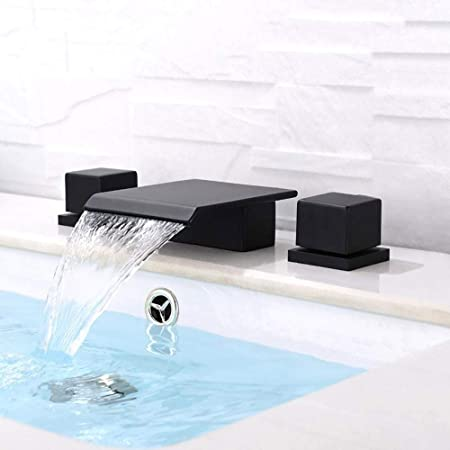 Solid Black Waterfall Widespread Square Double-Handle Tap Bathroom Sink Faucet