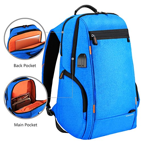 HAWEEL Outdoor Multi-function Solar Panel Power Breathable Casual Backpack Laptop Bag School Bookbag for College Travel Backpack, With USB Charging Port & Earphone Port (Blue) by HAWEEL (Image #4)