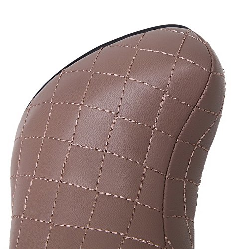 Womens Stilettos Closed Toe Round Slipping Sole With Spikes Apricot Toe AmoonyFashion Boots HdqpTH