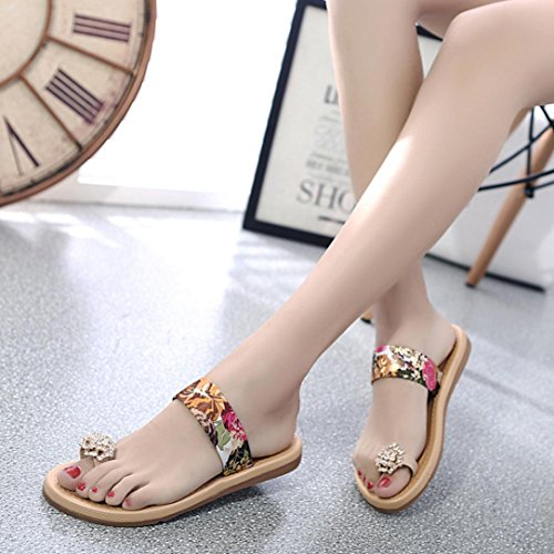 DEESEE(TM) Women Fashion Summer Flat Flip Flops Sandals Loafers Bohemia Shoes Red t9homD2T2