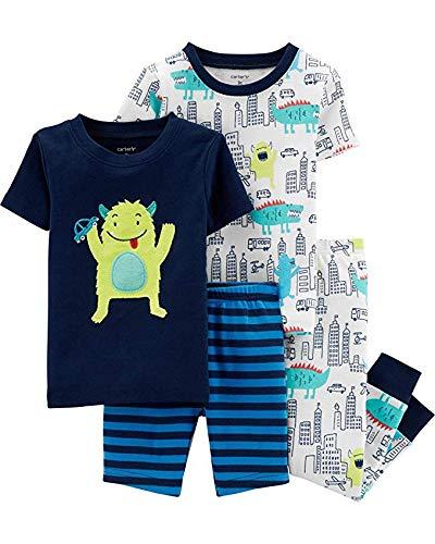 Carters Boys 4-Piece Snug Fit Cotton Pajamas (Blue/Monster,