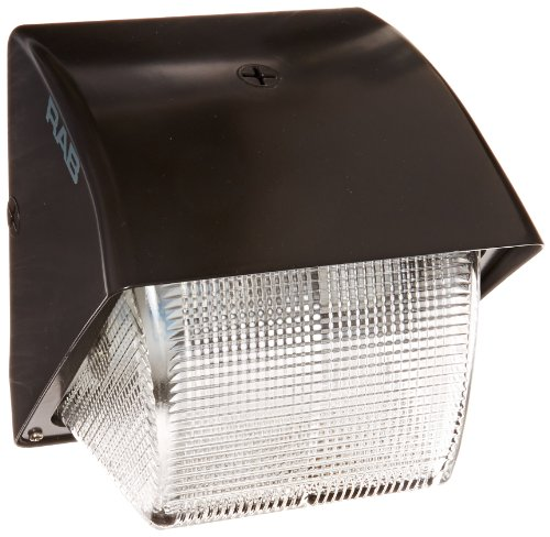 RAB Lighting WP1GH70 WP1 Metal Halide Wallpack with Prismatic Glass Lens, ED17 Type, Aluminum, 70W Power, 5600 Lumens, 120V, Bronze Color