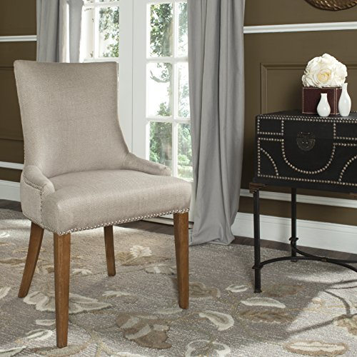 Safavieh Mercer Collection Eva Viscose Dining Chair with Trim Nail Head, 24.8-Inch Wide, Beige -  MCR4502J