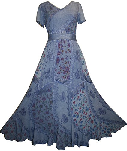 Agan Traders DR 592 Womens Stonewashed Embroidered Vintage Mega Sleeve Long Formal Dress Gown