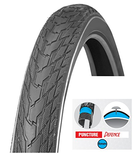 Biria Tire Bicycle, Street 26 x 1.75 Inch Puncture Resistant 5mm, Puncture Guard, Thorn Resistant, Comfortable Ride, Hybrid Bike Tread tire