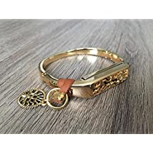 Small Gold Metal Band For Fitbit Flex 2 Activity Tracker Jewelry Bangle With Brown Leather & Gold Tree Of Life Charm Decoration Fitbit Flex 2 Handmade Bracelet