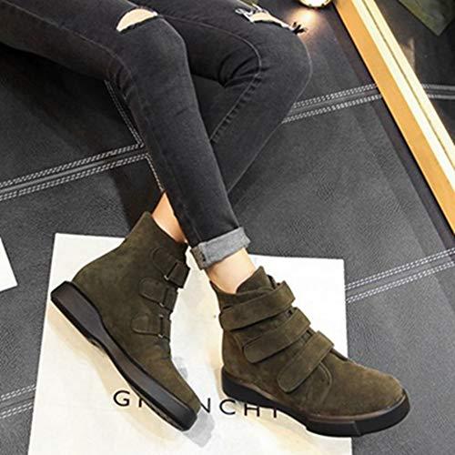 Green Boots Mid Sjjh Women Casual Cowboy Platform calf EwAHw